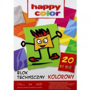 Blok tech.HAPPY COLOR kolor A4 170g 20ark. HA 3717 2030-09
